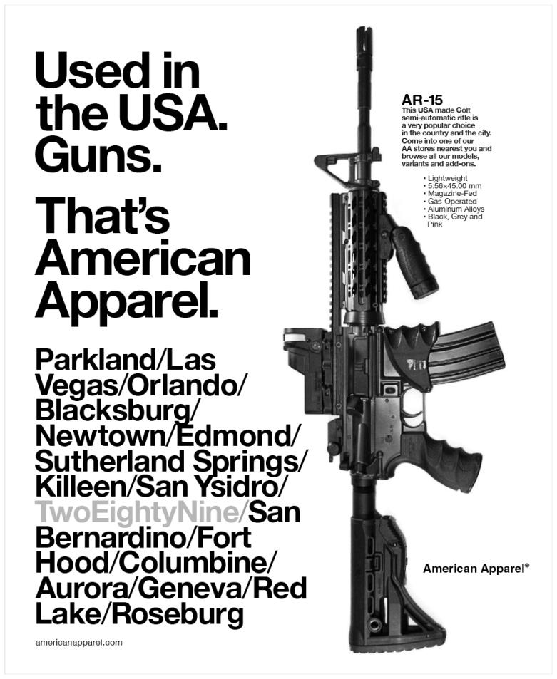 American Apparel Ad, AR-15, high school, shootings, parkland, Florida